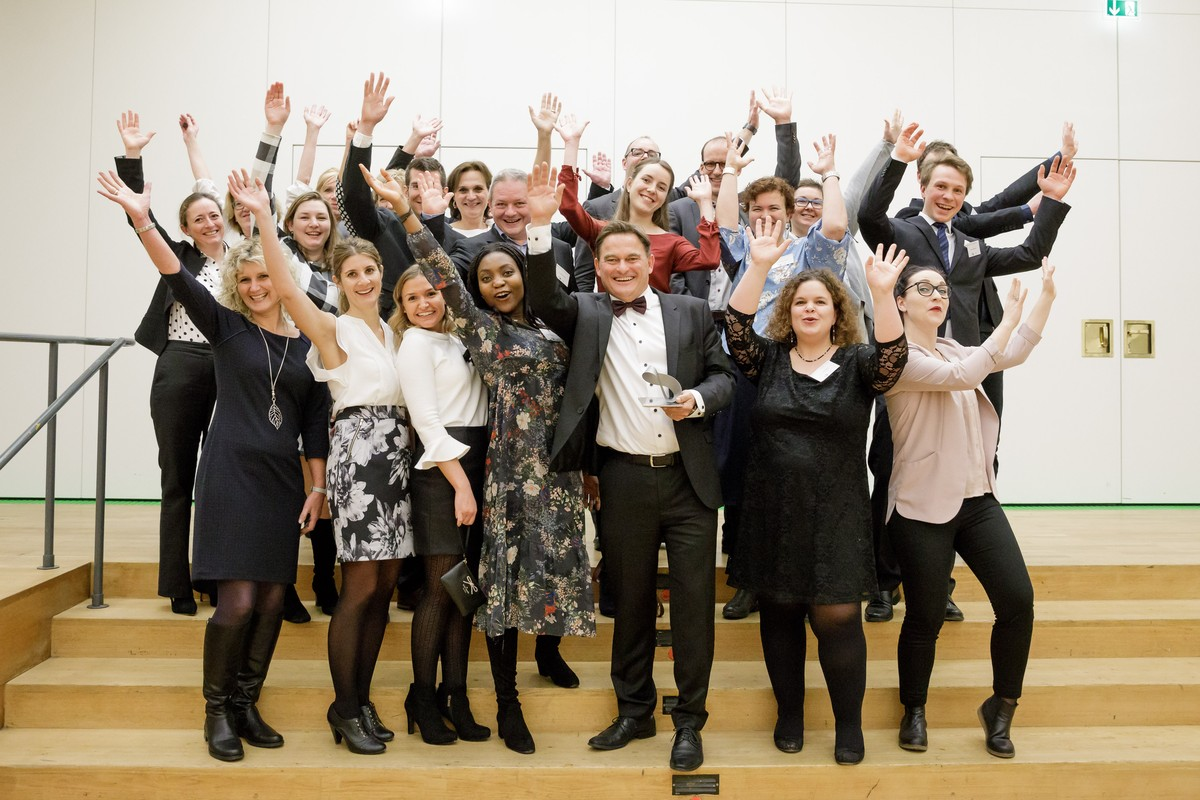 HI-STEM Lab members and friends during the Award Ceremony for the Landesforschungspreis 2018