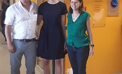 Phd Defense of Pia Sommerkamp (middle) with her supervisors Andreas Trumpp and Nina Cabezas-Wallscheid